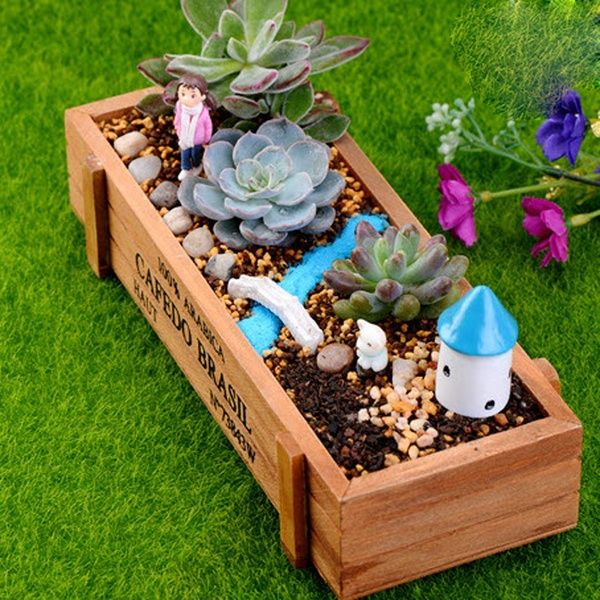 Wooden Garden Flower Herb Planter Succulent Pot Rectangle Trough Box Plant Cute