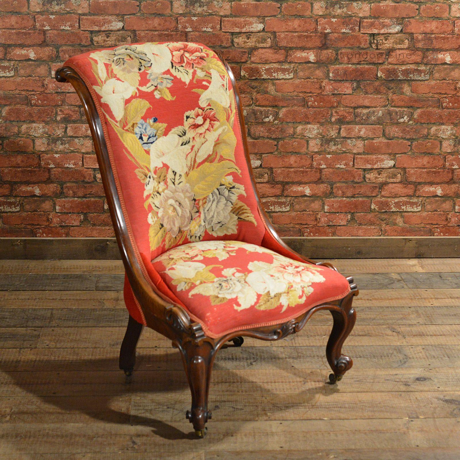 Antique nursing chair - Antique Nursing Chair Victorian Needlepoint Seat English Walnut Side C 1850 Ebay