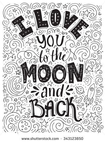 I Love You To The Moon And Back Romantic Vector Typography