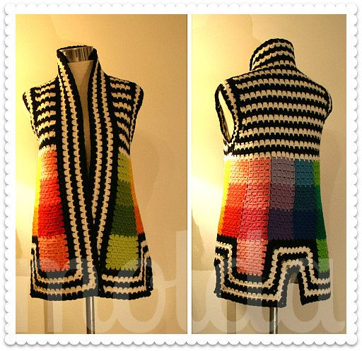 Personalized crocheted tunic rainbow colours squares and by Molda, $160.00