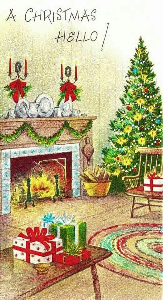 Pin by Urban Oasis on Old Fashioned Christmas: Cards - Fireplaces ...