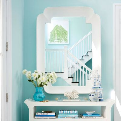 """The walls in this Bridgehampton home's foyer are painted """"the most pleasing shade of blue I could find,"""" says 2016 Showhouse designer Meg Braff."""