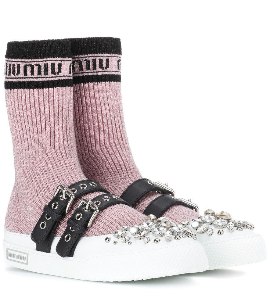 Miu Miu - Embellished knit sneakers - We love how Miu Miu comes up with new  and exciting ways to use embellishment every season 8852bc3ec14