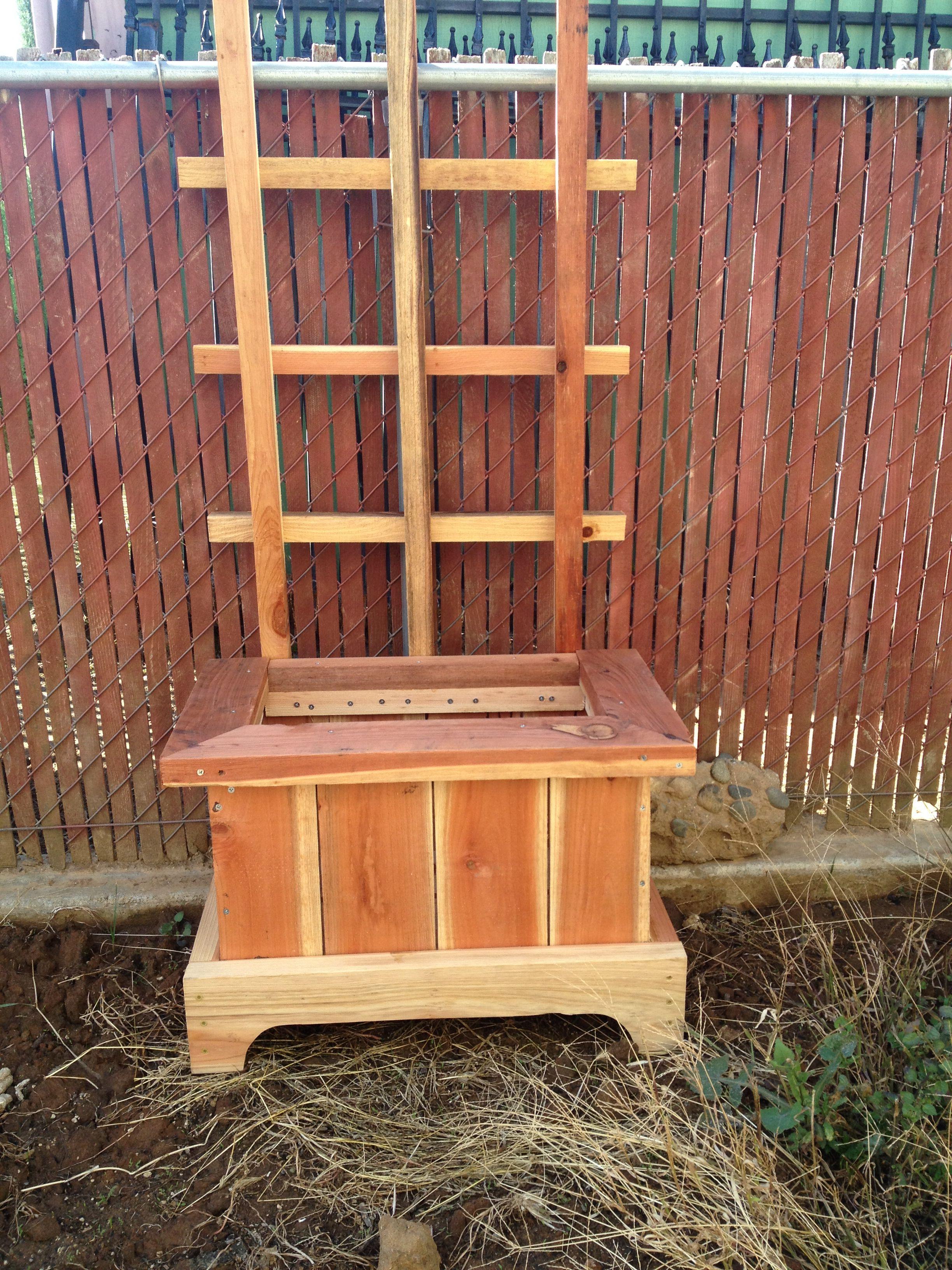 Garden decor trellis  Planter box with trellis  Back Yard Decorations  Pinterest