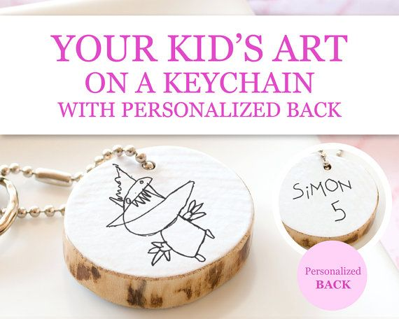 Fathers Day Gift Children Art Keychain Personalized Custom Kid Artwork Drawing Eco Friendly Wood Handmade Keepsake Gift for Grandparents Dad