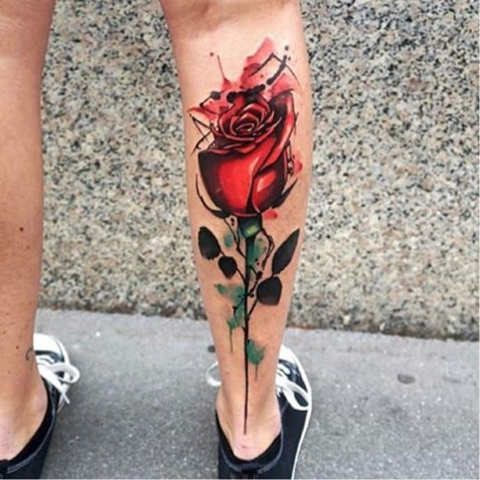 Cool abstract watercolor rose tattoo via dynozartattack for Abstract rose tattoo