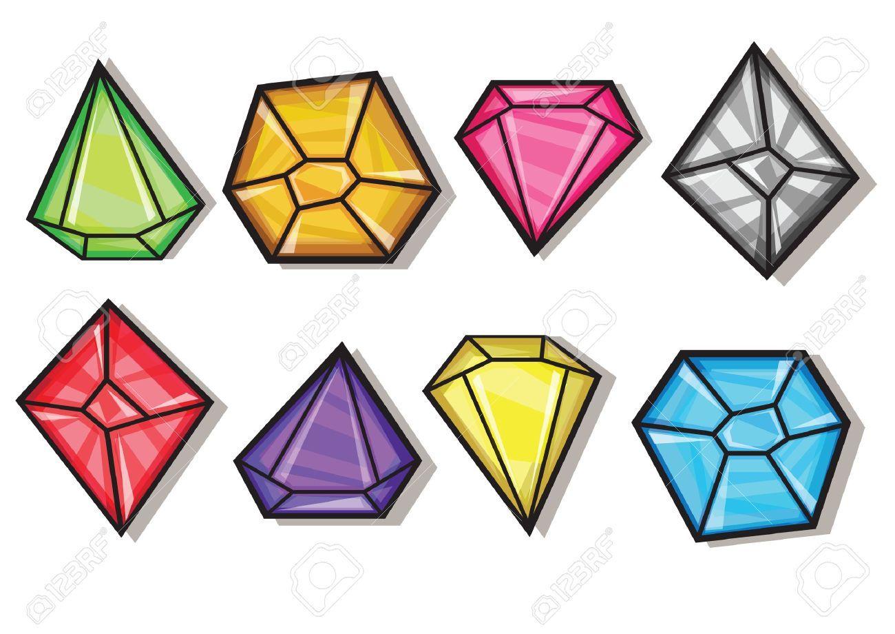 Vector Gemas Y Diamantes Iconos De Dibujos Animados