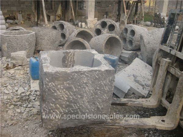 Square Old Stone Pots Planters Urns Garden Patio