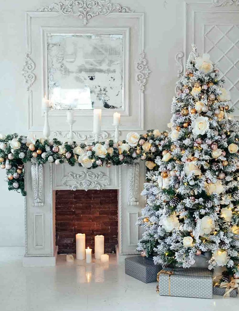 White Snow Cover Christmas Tree Aside Fireplace Backdrop For Holiday Photo images