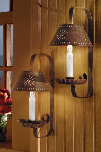 Collections Etc Country Primitive Tin Punch Candle Sconce Wall Lamp Set Collections Etc Http Www Candle Wall Sconces Sconces Wall Lamps Primitive Lighting