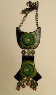 Pirkko Kettunen, vintage bronze and enamel pendant, 1960's. #Finland | finlandjewelry.com