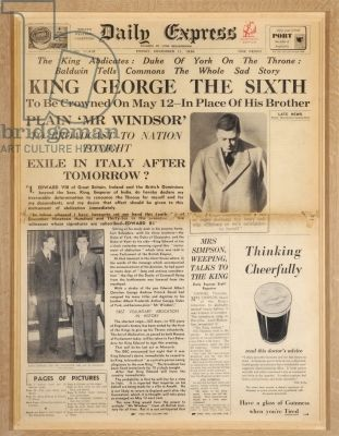 King George the sixth crowned in place of his brother. WWII