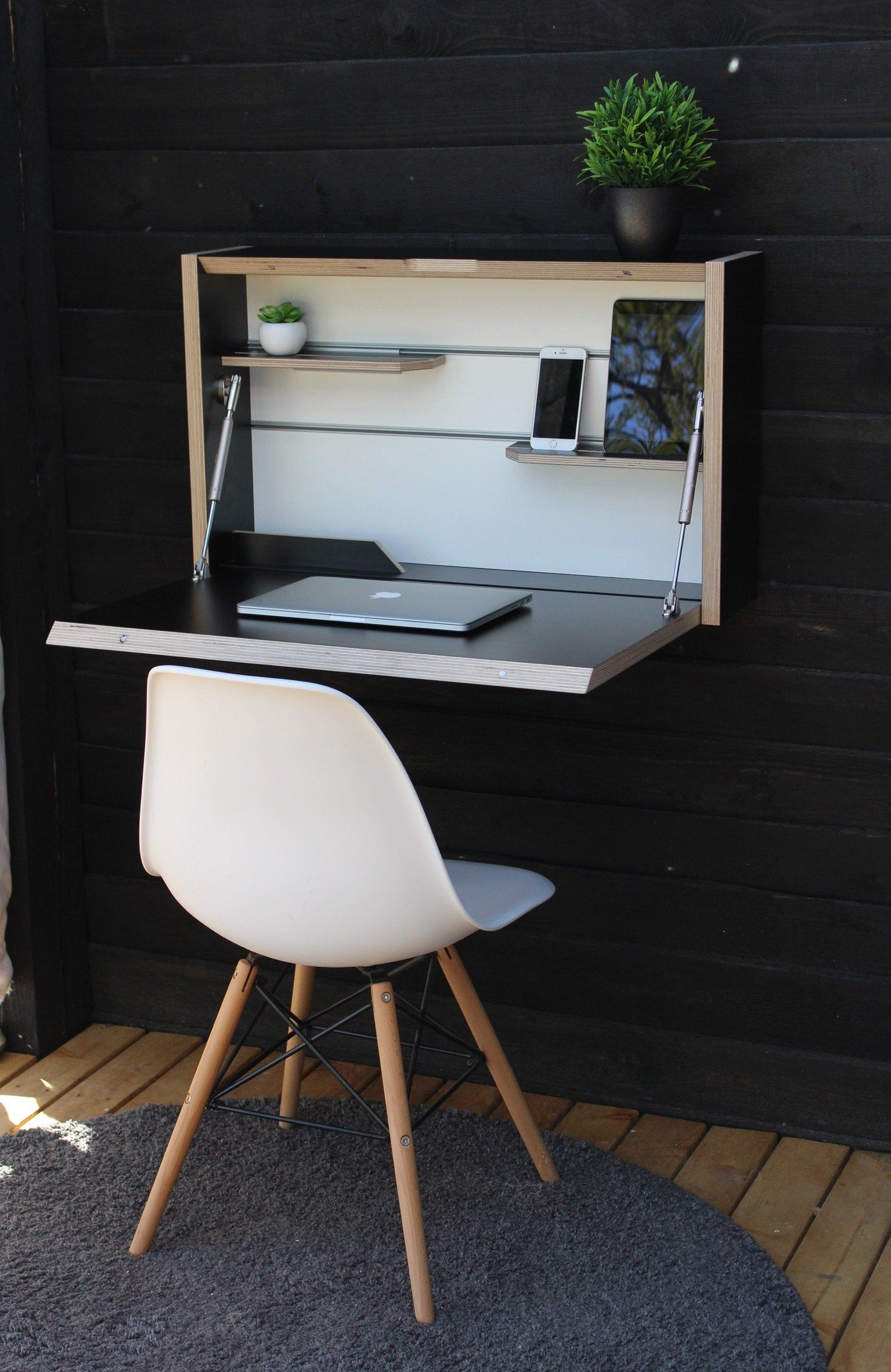 Floating Desk. Office Desk. Plywood Table. Wall Mounted Folding