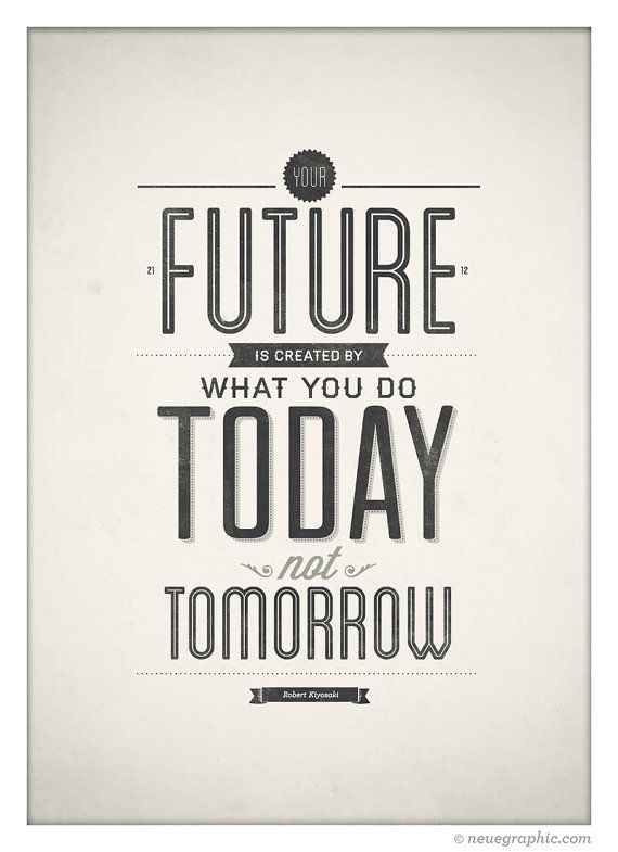 Attractive Inspirational Quote Poster Your Future Is Created By NeueGraphic