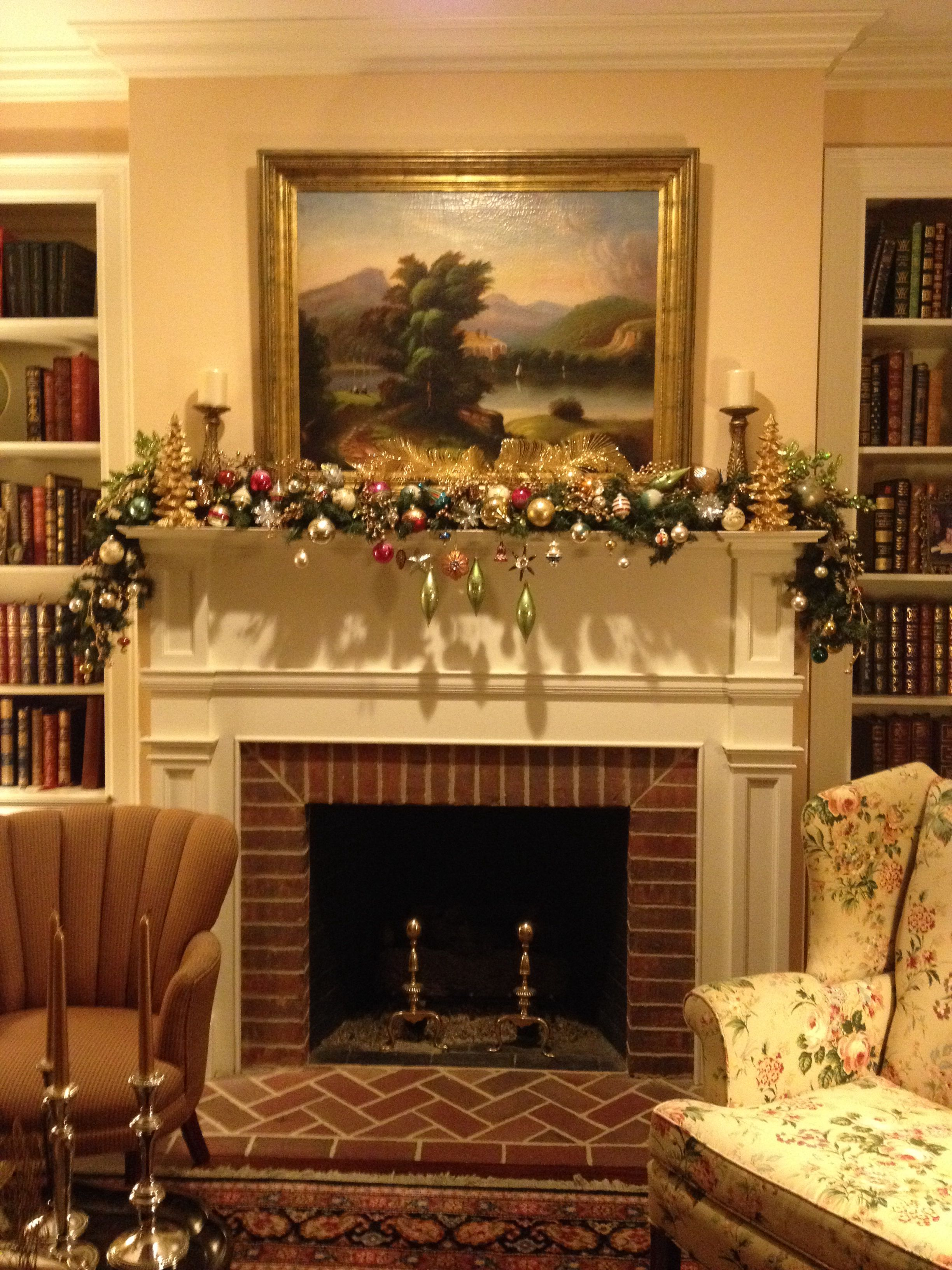Vintage Christmas fireplace mantle decoration with antique ...