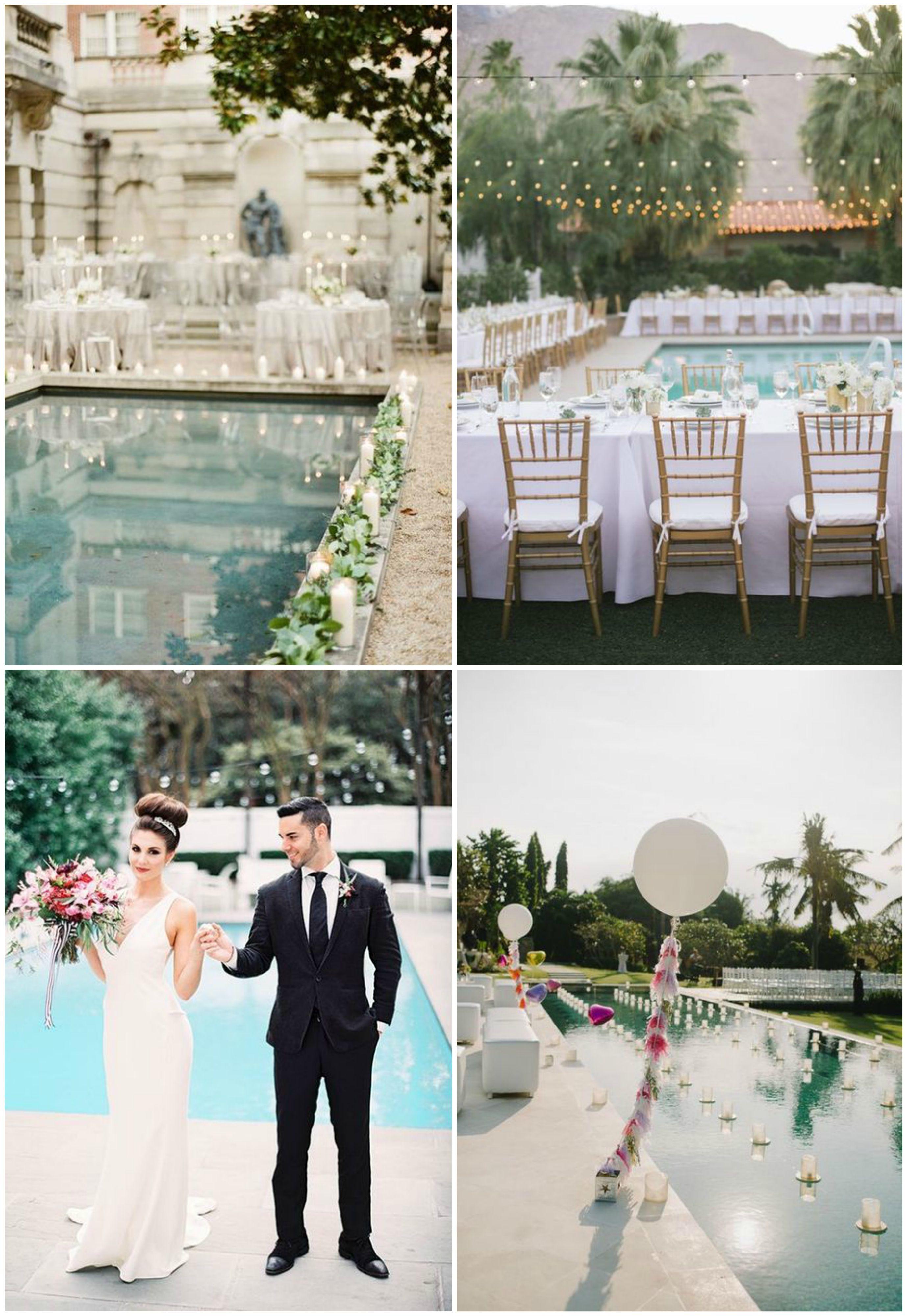 33 Cool Poolside Wedding Ideas Pool Wedding Decorations Pool Wedding Pool Wedding Theme