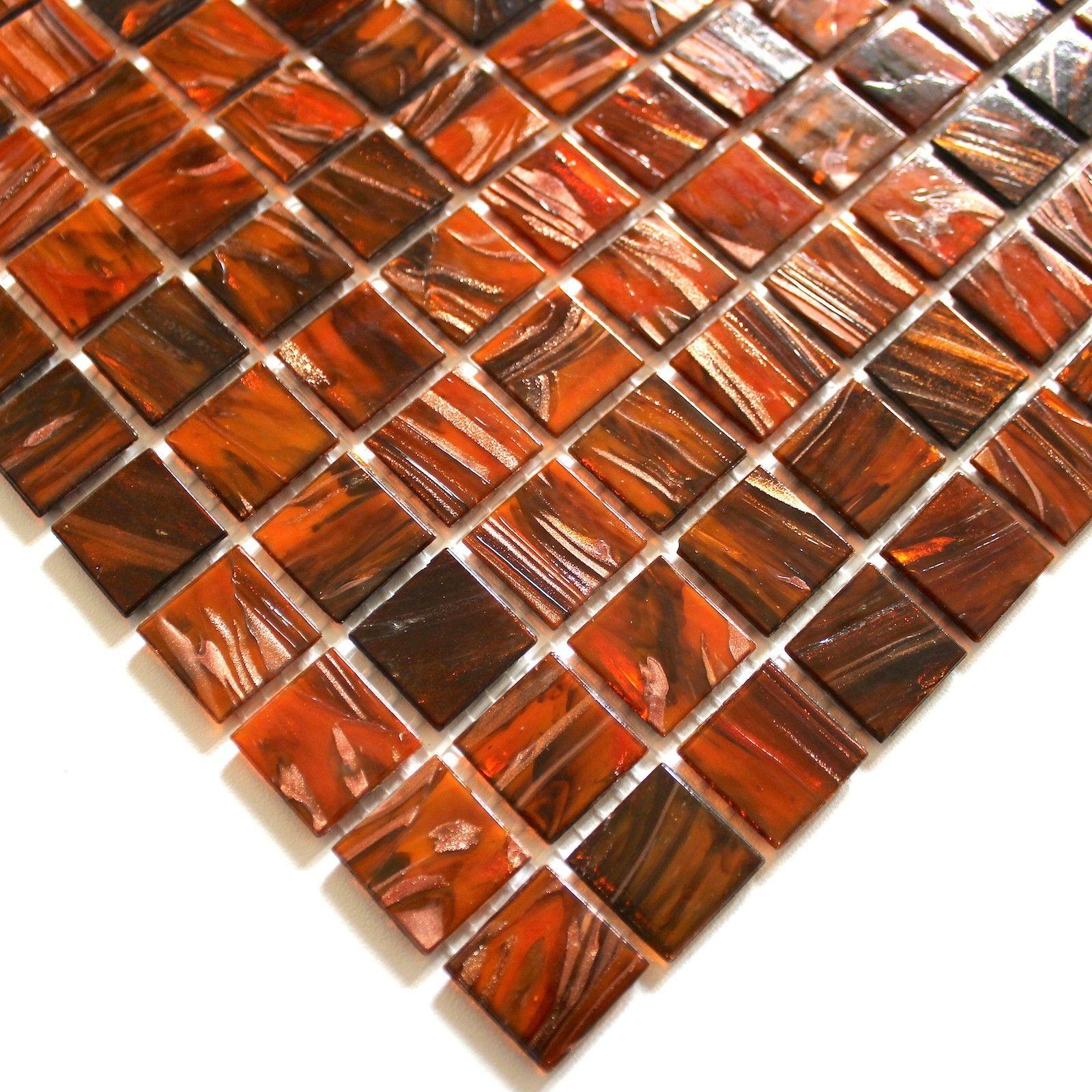 Mosaique Douche Pate De Verre Salle De Bain Vitro Orange 5 50