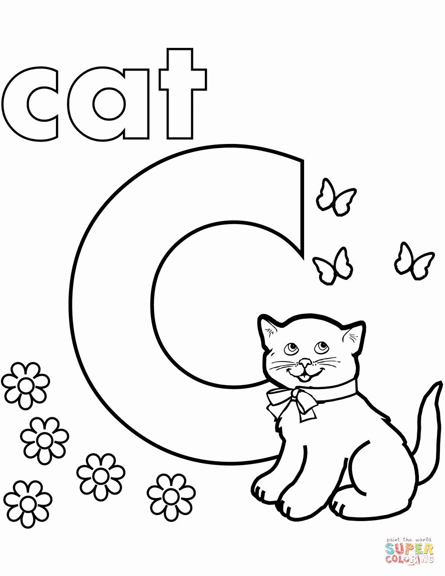 Letter C Coloring Sheet Beautiful C Is For Cat Coloring Page Letter A Coloring Pages Letter C Coloring Pages C Is For Cat