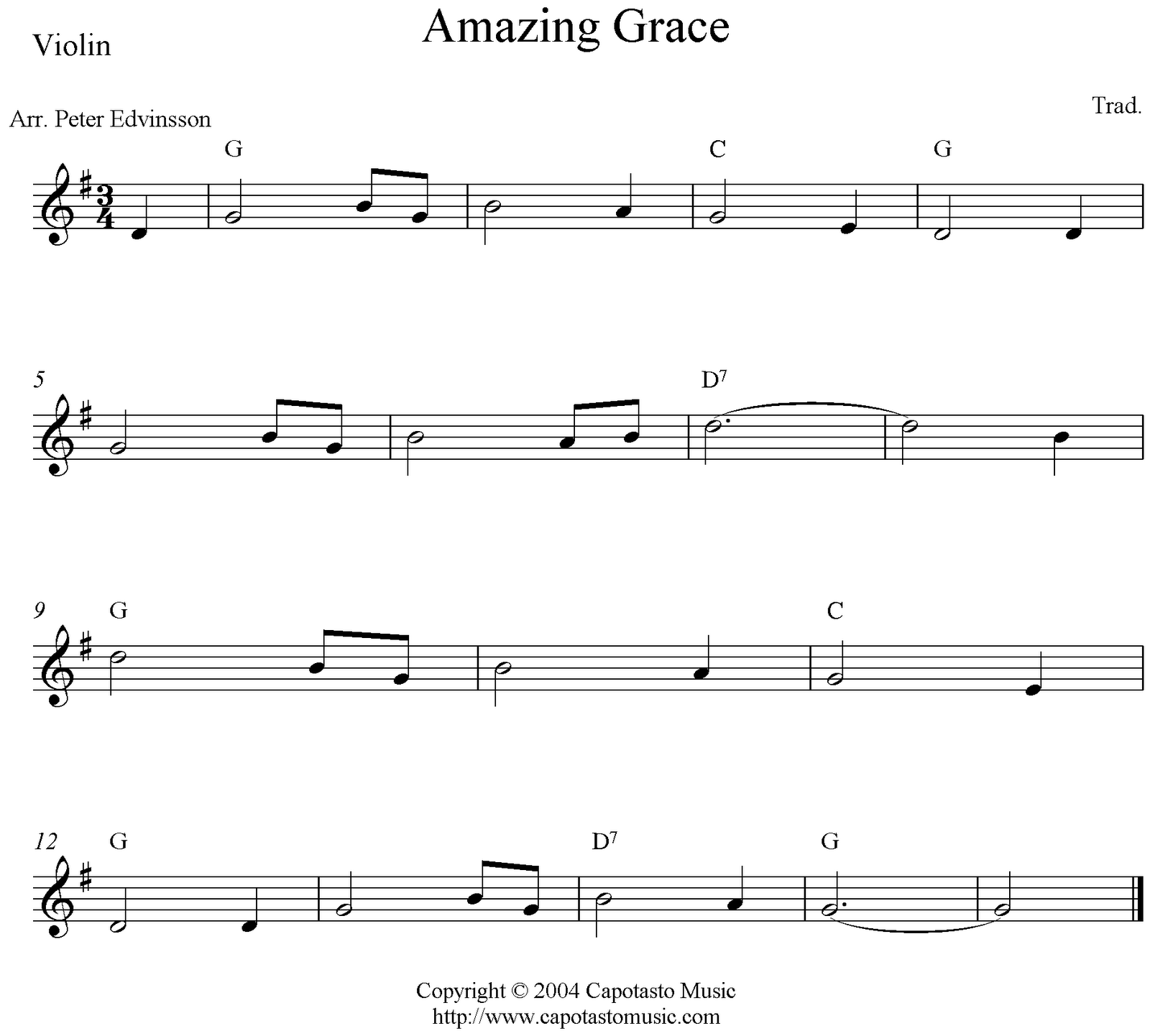 Christmas Canon Lyrics Sheet Music: Amazing Grace Sheet Music For Guitar