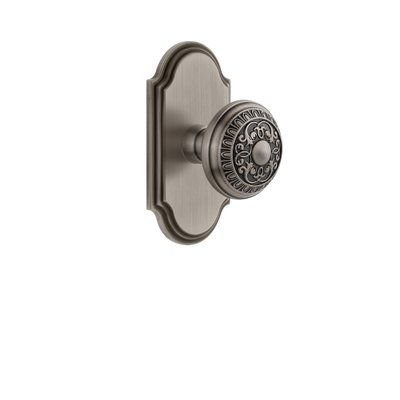 grandeur windsor door knob with arc plate finish antique pewter