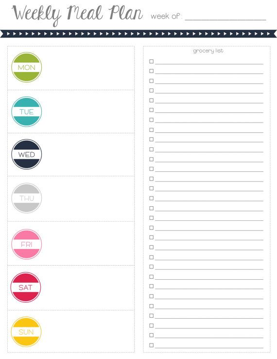 Meal Planning Grocery List Printable Colorful By Mrsprinceandco