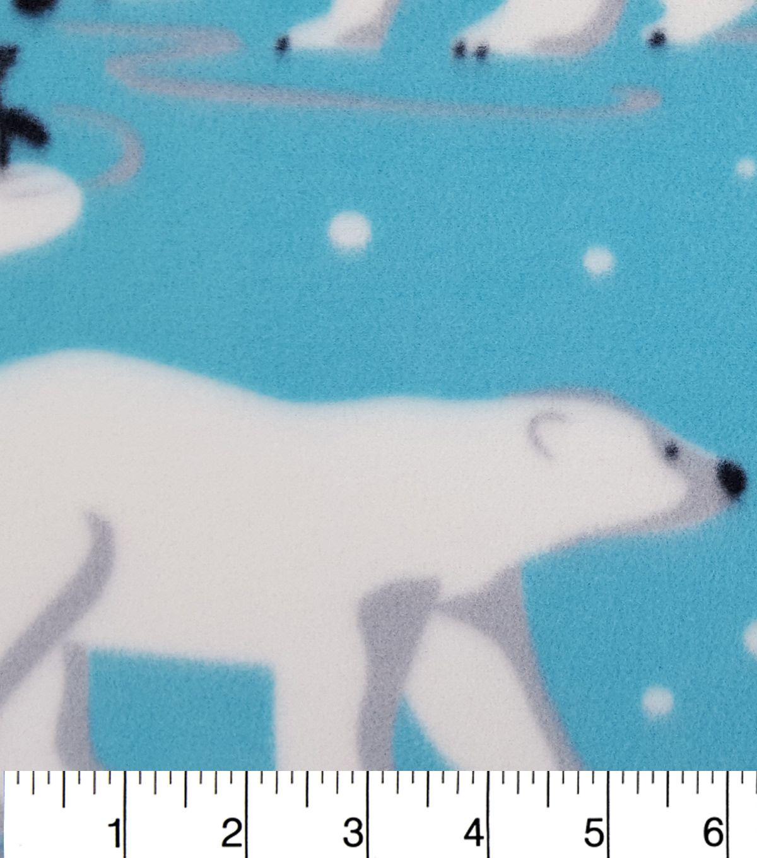 Anti pill fleece fabricpolar bears and penguins on ice polar bear