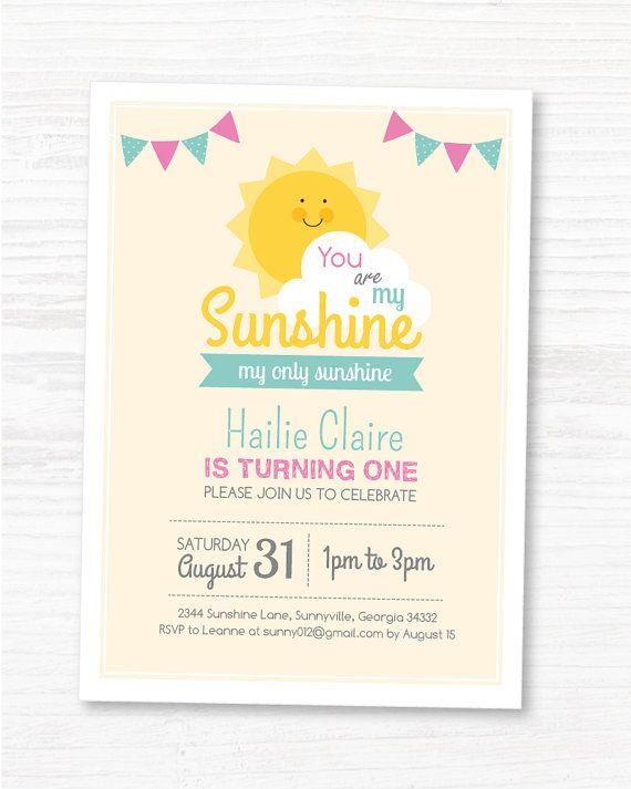 Digital File You Are My Sunshine Invite Customized Sunshine