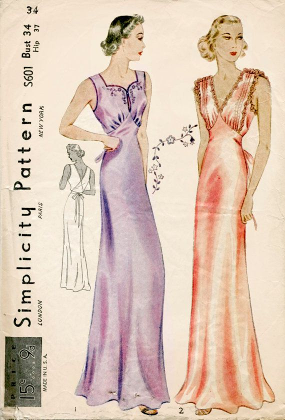 1930s 30s vintage lingerie sewing pattern gown negligee Bust 34 B34 ...