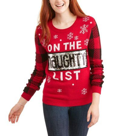 no boundaries juniors sequined on the naughty list holiday printed christmas sweater girls size medium multicolor - Christmas Sweaters Walmart