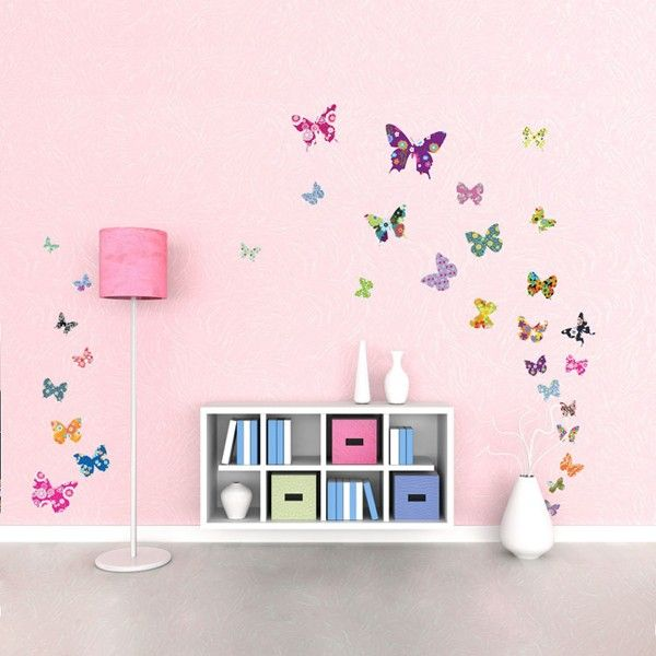Flowers Wall Stickers Mural Home Decor Pink Tree and 3D Strawberry Butterflies