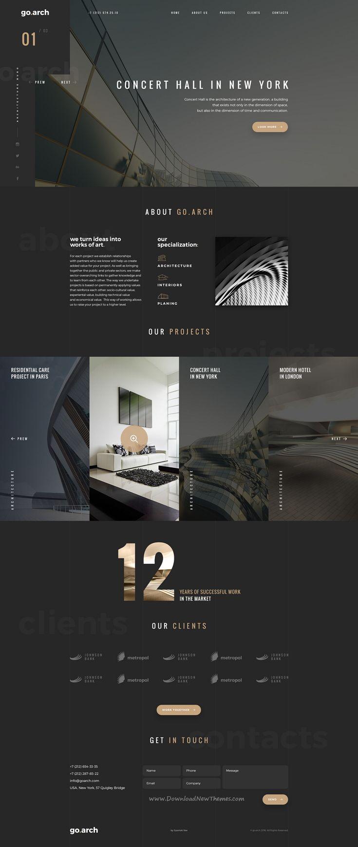 go.arch - Architecture PSD Template | Pinterest | Screendesign ...