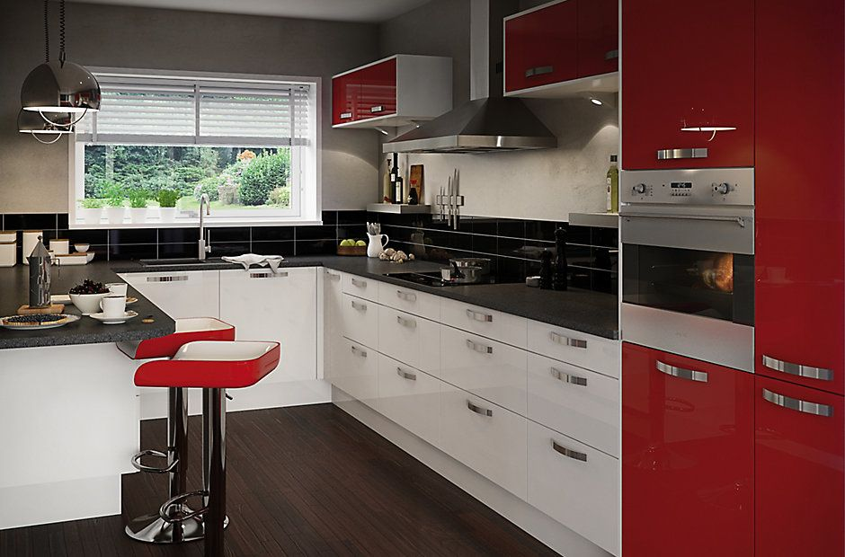 Kitchen Design Ideas B Q cooke & lewis high gloss red | kitchen ranges | kitchen | rooms