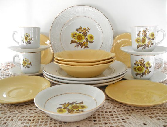 Vintage Yellow Johnson Brothers 20 Piece Made in England Goldendawn And Sunflower Plates Royal Warwick Dinnerware French Country Home Decor on Etsy, $75.00