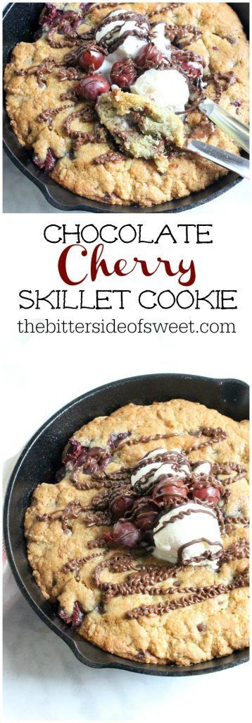 Chocolate Cherry Skillet Cookie | The Bitter side of Sweet #chocolate #cherry #cookies #SundaySupper