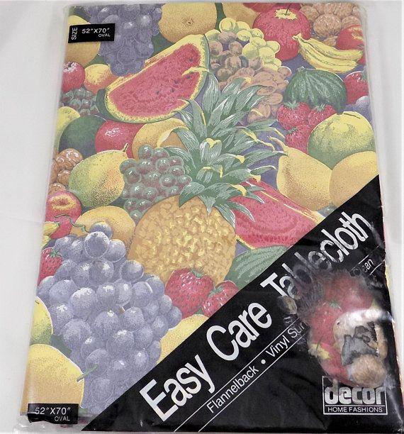 Fruit Vinyl Tablecloth 52 X 70 Oval Nos Decor Home