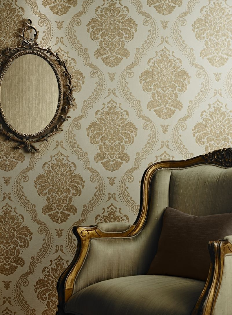 Glisten Gold Baroque Wallpaper Vintage Inspired D/écor Arthouse