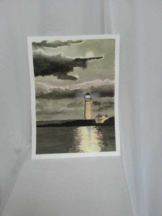 Full Moon and Light House Original Watercolor by ColorsAndChords