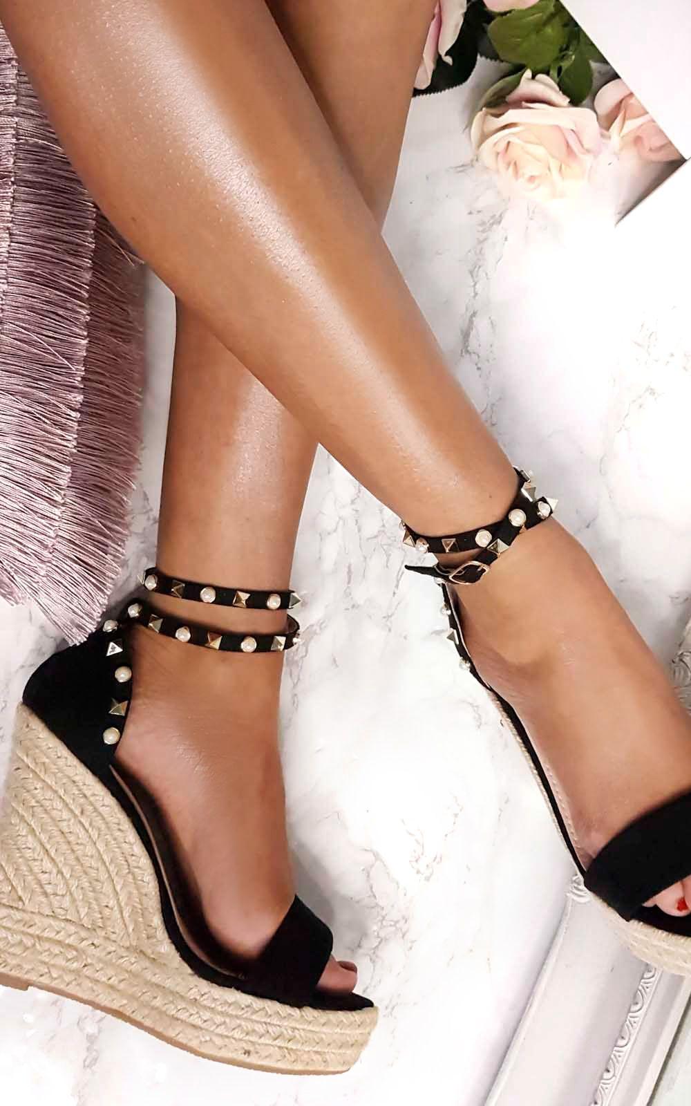 IKRUSH Womens Klaire Studded Embellished Wedges