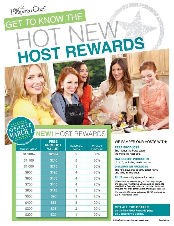 The New Host Rewards Chart Pampered Chef Pampered Chef Party Host Rewards