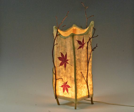 Twig Lamp haiku -- handmade paper and twig lamp | japanese maple, leaves and