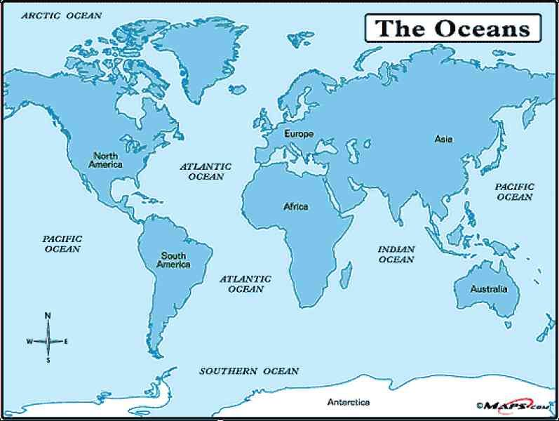 cool Map Of Seas Of The World | Holidaymapq | Map, Map pictures ...