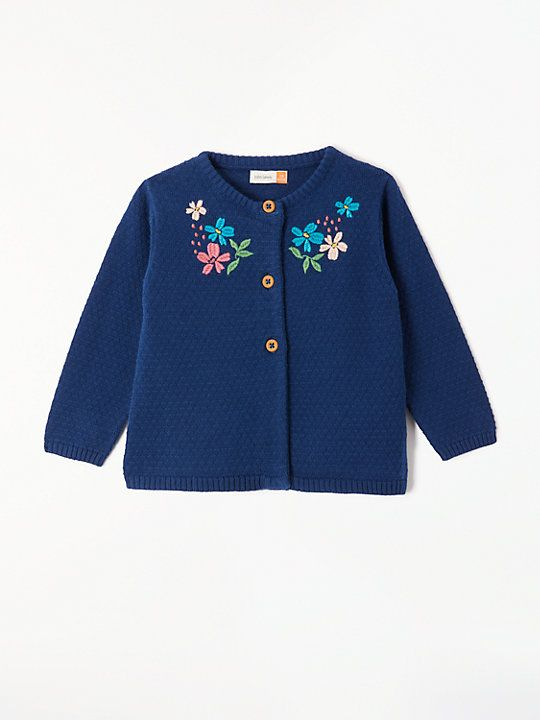 70139b72b John Lewis & Partners Baby Flower Embroidered Cardigan, Navy   John ...