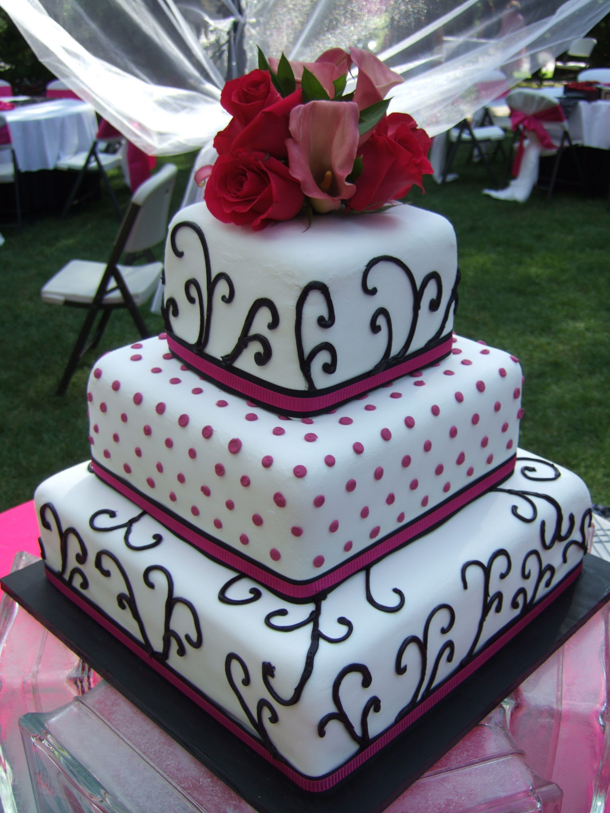 Black white and pink cake here comes the bride pinterest