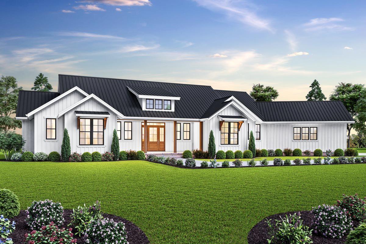 Modern Farmhouse Plan with Angled 3 Car Garage 69761AM