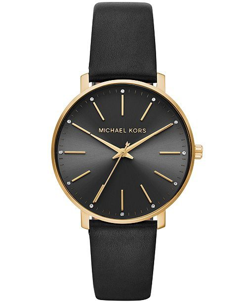 d554fac99a7c Michael Kors Women s Pyper Black Leather Strap Watch 38mm - Black in 2019