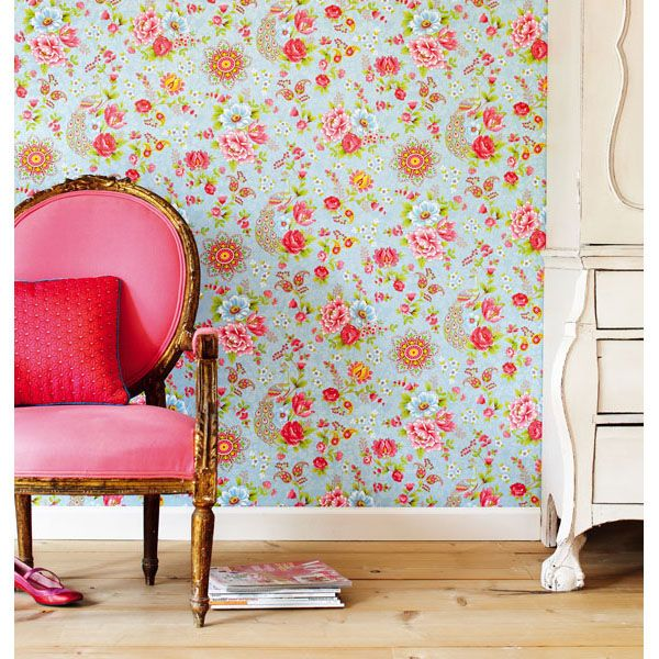 313051 Light Blue Paisley Floral - Eijffinger Wallpaper