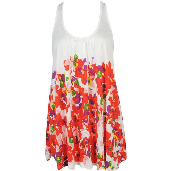 Floral Trapeze Knit Top ($16) ❤ liked on Polyvore featuring tops, tunics, dresses, shirts, casual, sleeveless tunic, knit shirt, sleeveless shirts, cut loose shirt and red shirt