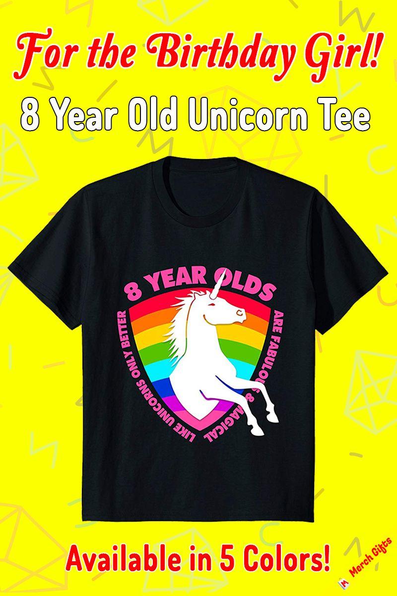 Unicorn Birthday Shirt 8 Year Old