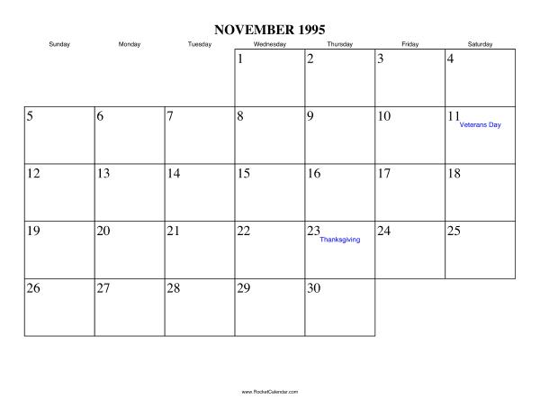November 1995 Writing Calendar Calendar 2017 Free Printable