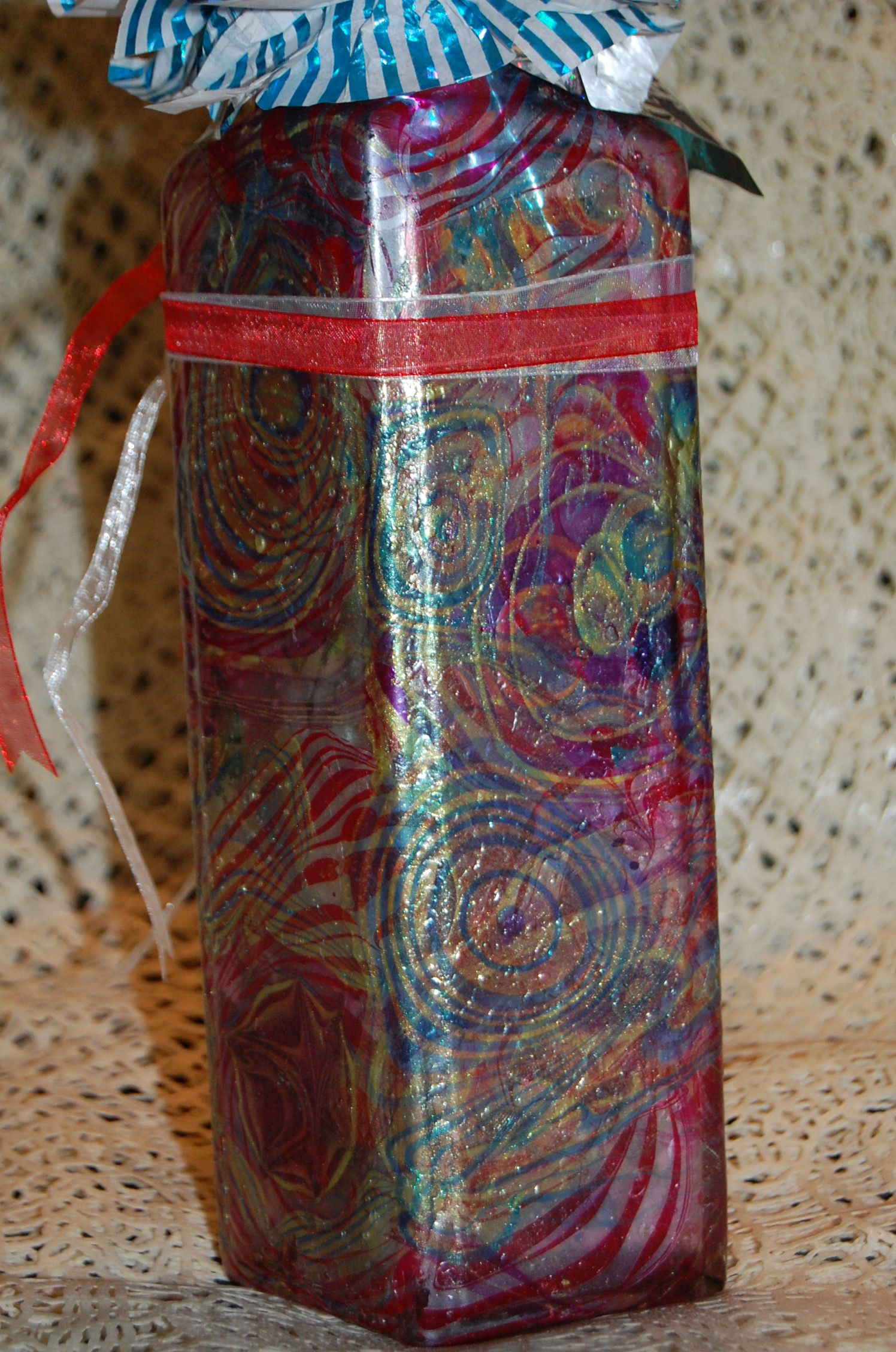Back side with polish marbling